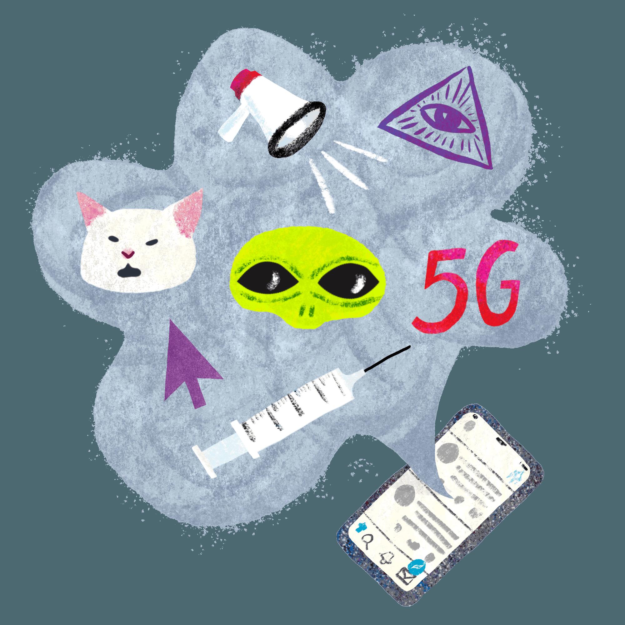 Mobiltelefon med en snakkeboble som inneholder en sprøyte, en musepeker, en katt, en alien, 5G, en megafon, illuminati-logo