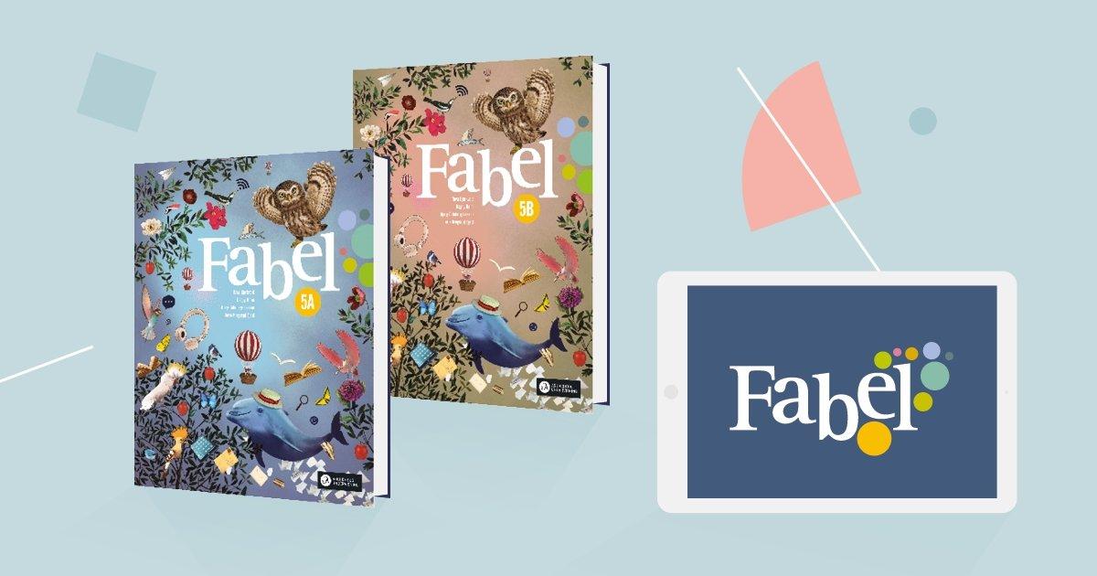Bildet viser omslagene til Fabel 5A og Fabel 5B samt logoen på skjermen til et læringsbrett