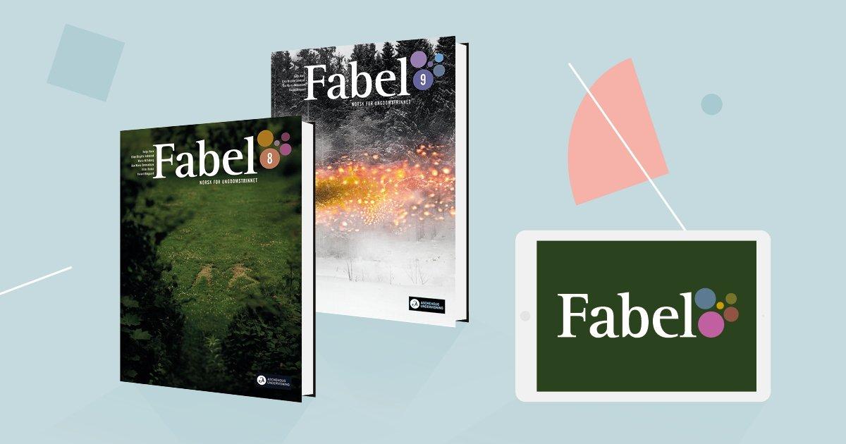 Bildet viser omslagene til Fabel 8 og 9 samt logoen på skjermen til et læringsbrett