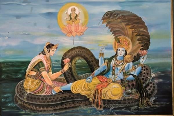 farget illurstrasjon den hinduistiske guden Vishnu skaper verden