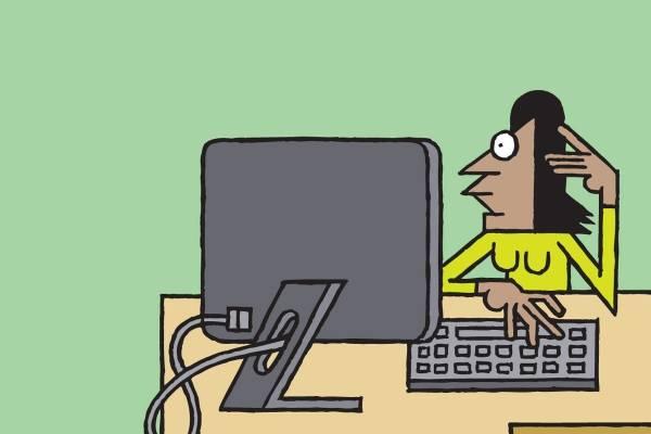 Illustrasjon av en kvinne som ser på en pc skjerm