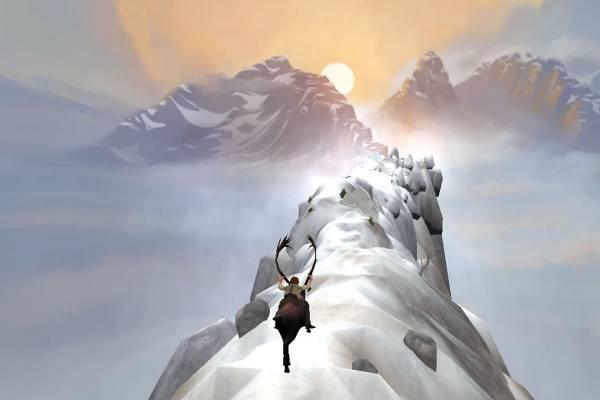 Bildet viser Peer Gynt som rir på bukken oppå eggen av et snøhvitt fjell. Bak fjellene lyser solen.