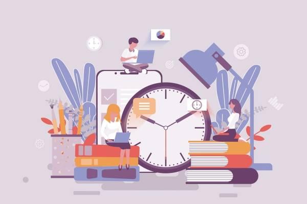 Illusttrasjon av bøker, klokke, mobil, blyanter, planter og mennesker i en collage