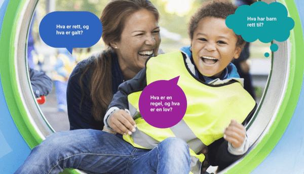 """fargerikt bilde av en gutt og en dame som smiler. Tre snakkebobler """"Hva er rett, og hva er galt?"""" """"Hva er en regel, og hva er en lov?"""" """"Hva har barn rett til?"""""""
