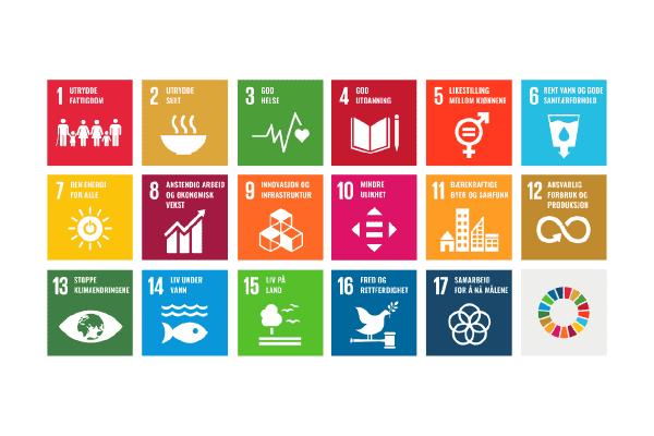 samling av ikonene til FNs bærekraftsmål på hvit bakgrunn