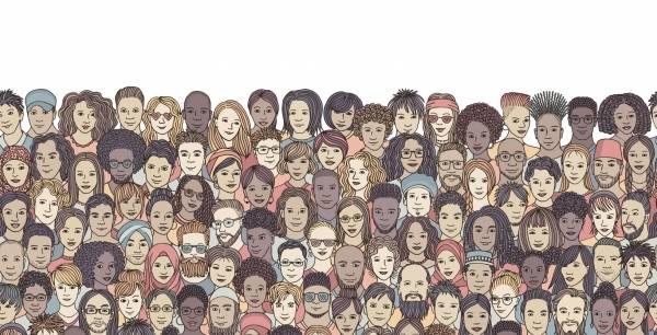 farget illustrasjon av en menneskemengde av ulik nasjonalitet