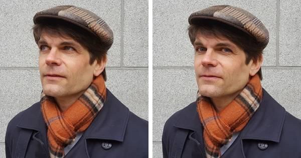To portretter av Lars Bremnes satt sammen. I det ene ser han rett i kamera.