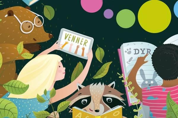 Illustrasjon fra omslaget til Fabel 1 lesebok