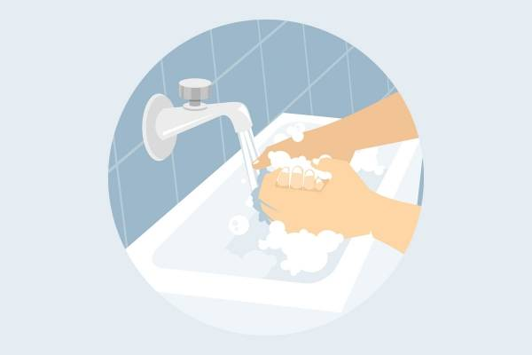 Illustrasjon av hender som vaskes med såpe og vann i en vask