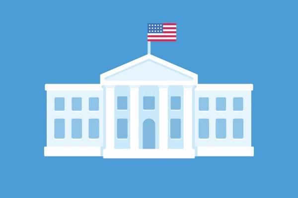Illustrasjon av det hvite hus med det amerikanske flagget heist til topps på en ensfarget blå bakgrunn.