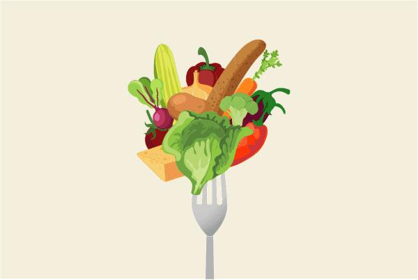 farget illustrasjon som viser en gaffel med masse forskjellig mat på
