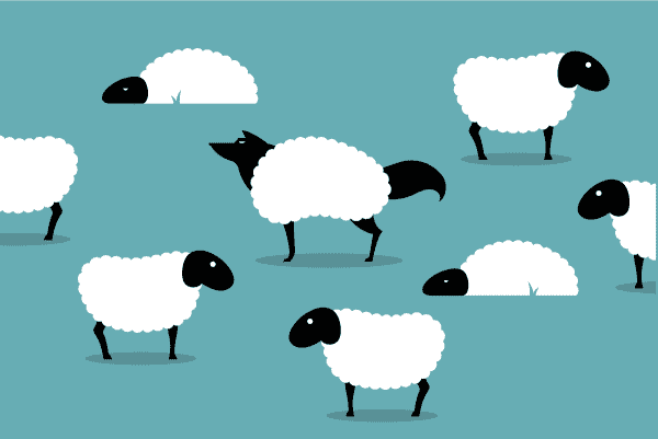 farget illustrasjon: flere sauer, og midt i blandt dem en ulv utkledt som sau på blå bakgrunn