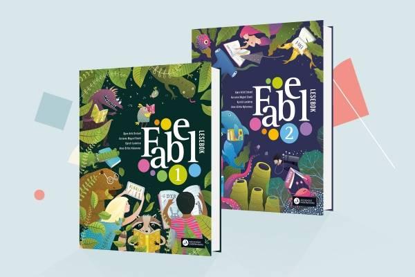 Bildet viser omslagene til Fabel 1 lesebok og Fabel 2 lesebok