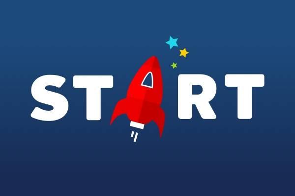 Logoen til START med rakett