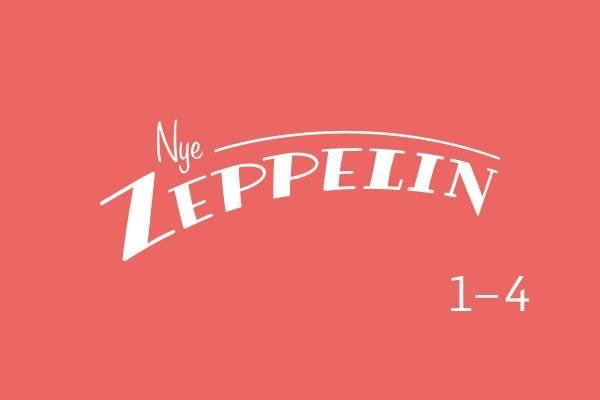 Bildet viser logoen til Nye Zeppelin 1-4 mot en lyserosa bakgrunn