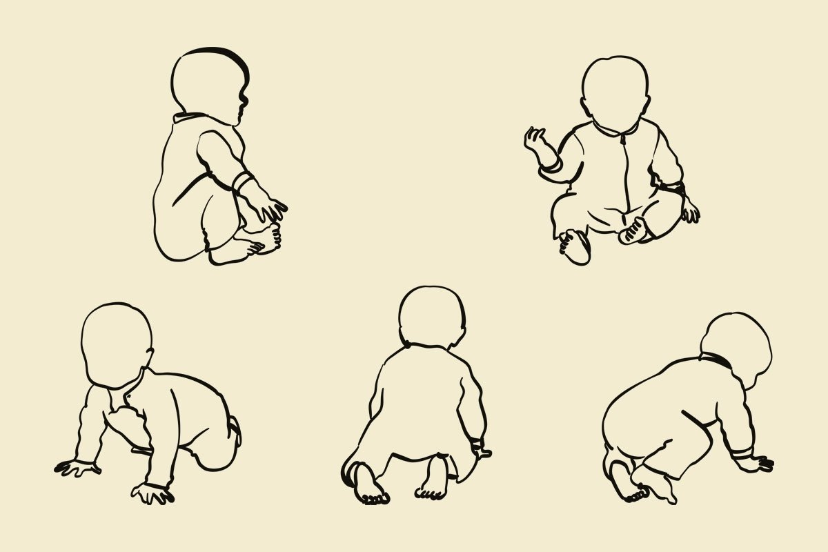 Illustrasjon svart strek baby som krabber  og sitter