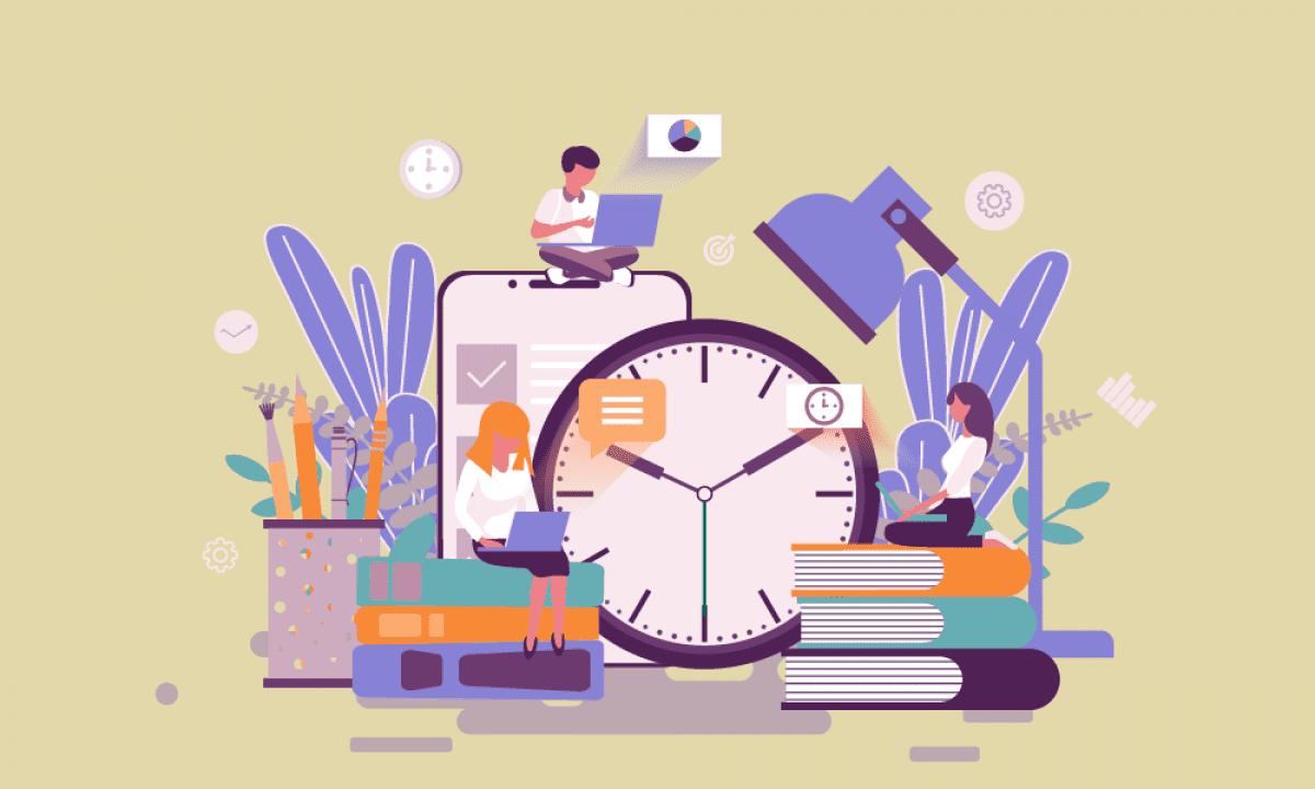 farget illustrasjon på beige bakgrunn, bøker og klokke og mennesker som sitter med pc el.l og planlegger