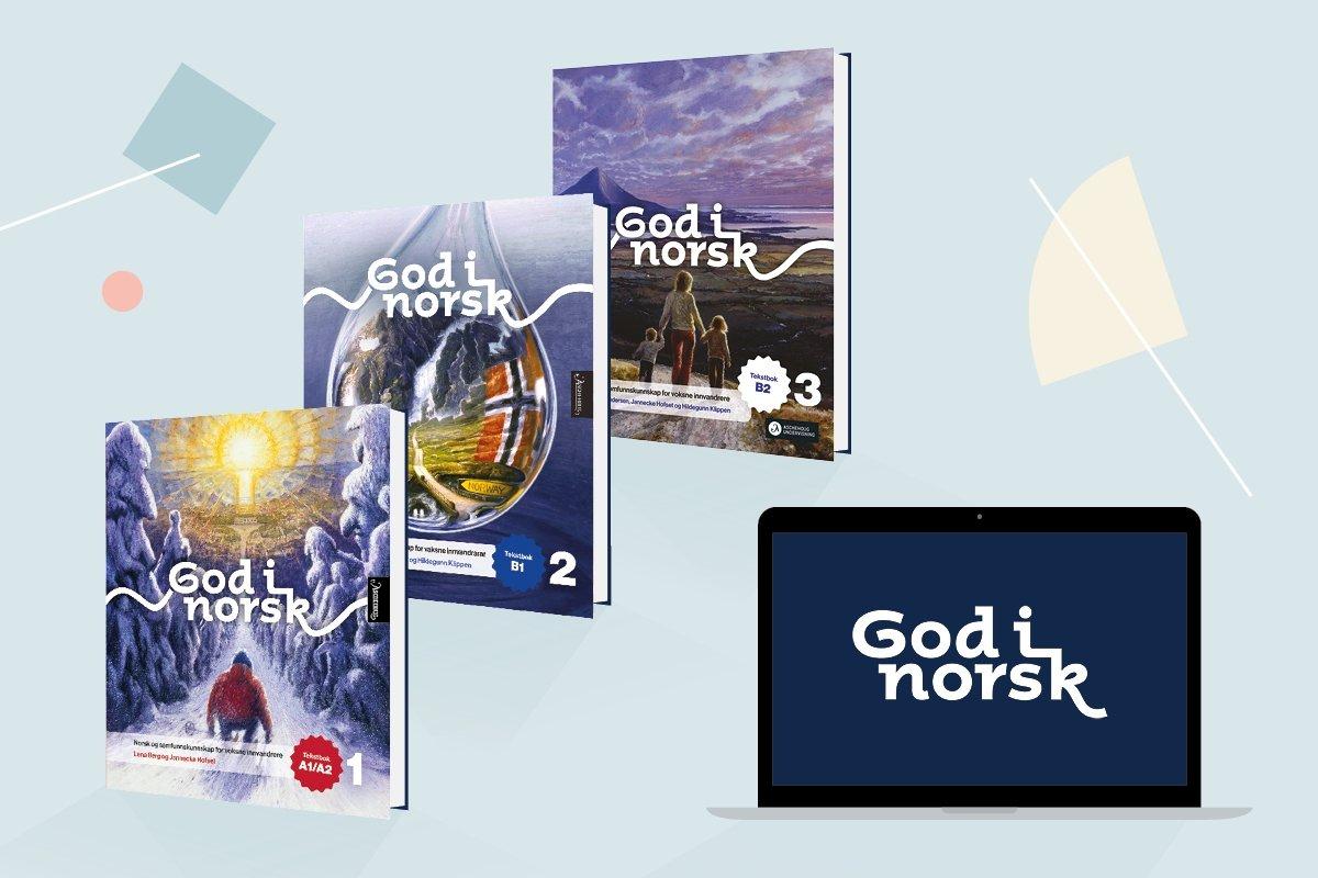 Bildet viser de tre omslagene til God i norsk samt et blått læringsbrett med den hvite logoen på skjermen