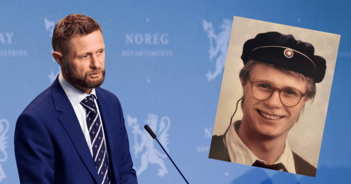 Bilde av Bent Høie som holder tale til ungdommen med bilde av ham selv som russ klippet inn