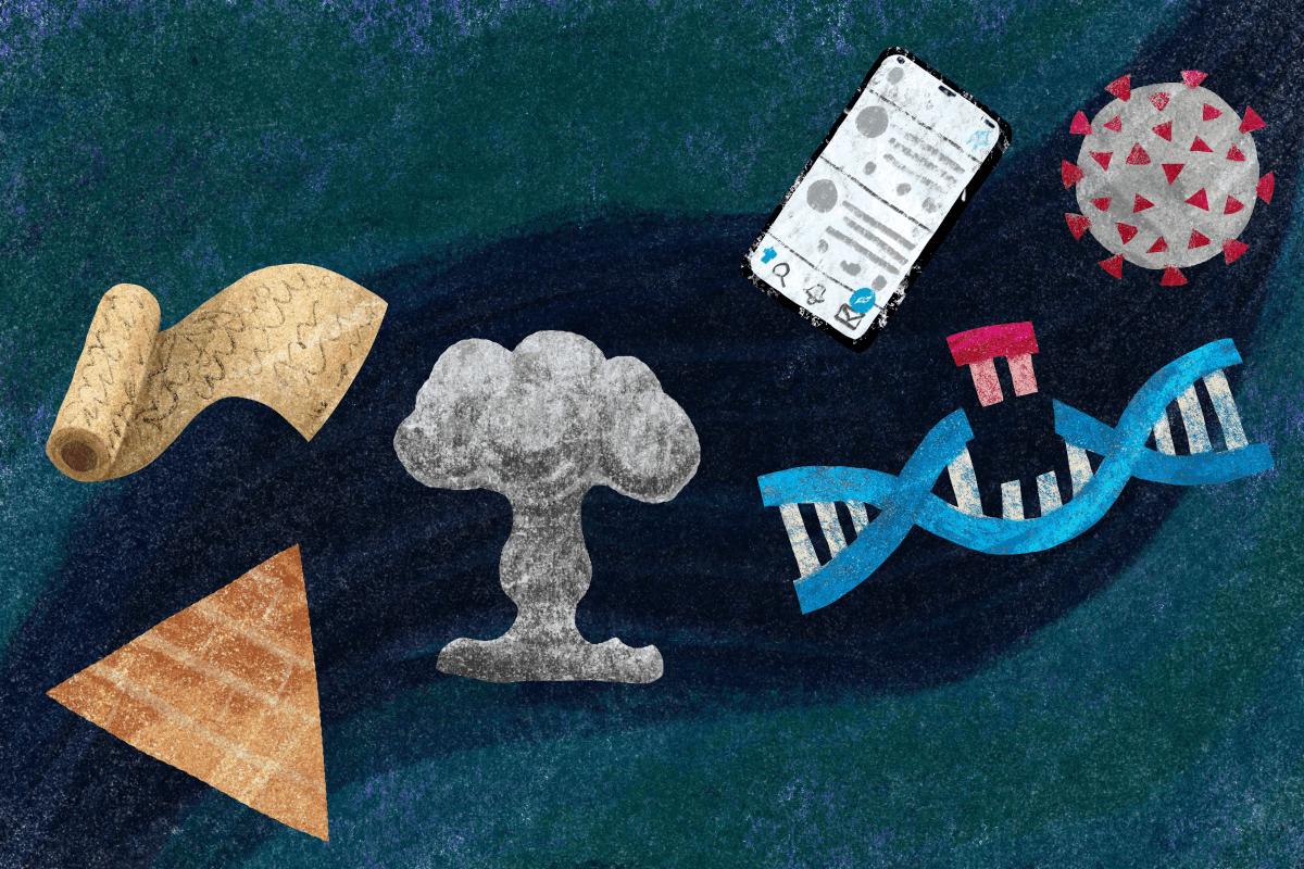 Illustrasjon av en melkevei med pyramide, papyrusrull, atomeksplosjon, DNA-kjede, mobiltelefon, koronavirus.