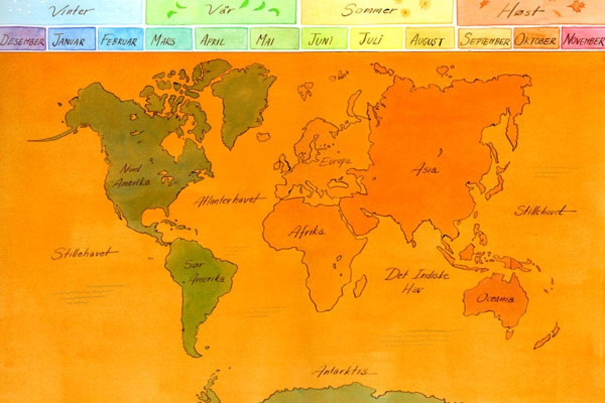 Tegnet verdenskart med oversikt over årstider og månedene i året