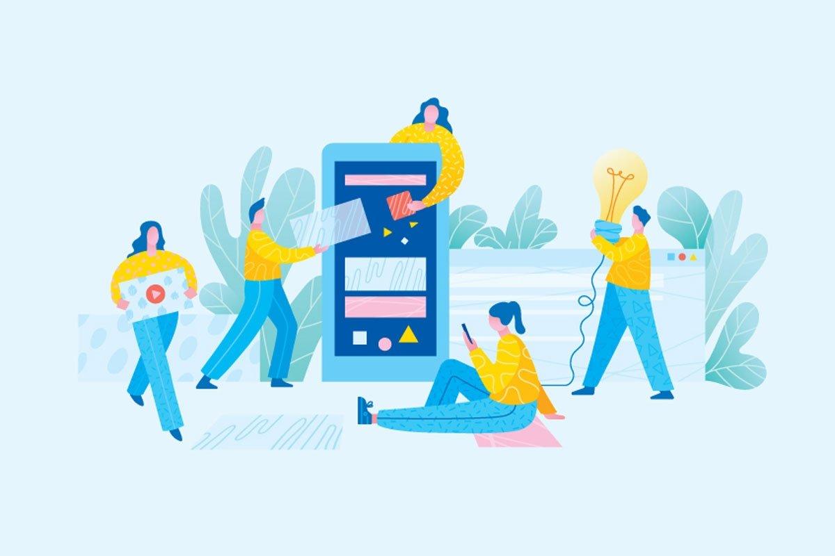 Illustrasjon av fire mennesker i gule gensere som sitter på mobilen, bærer en lyspære og setter sammen film på en stor mobilskjerm.